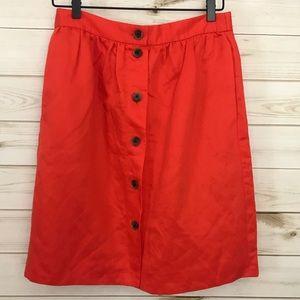 J. Crew Linen Orange Button down Skirt, Size 6